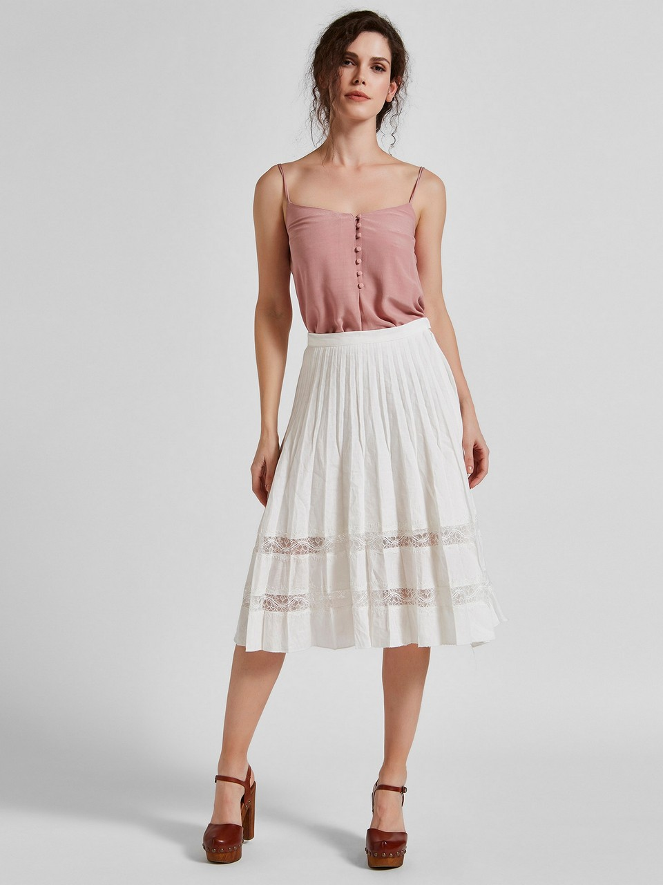 Lace Detailed Frilly Linen Skirt