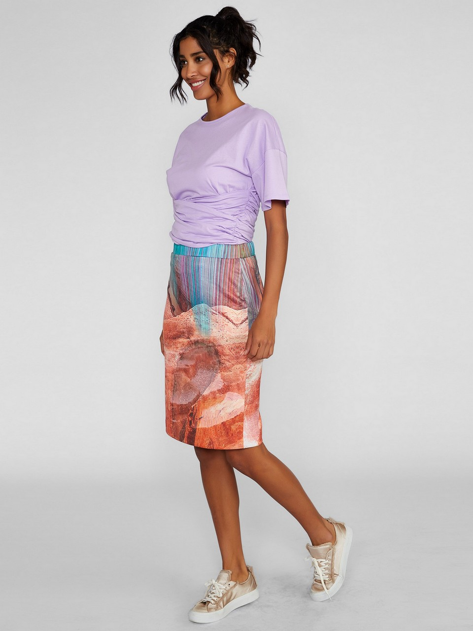 Patterned Skirt With Elastic Waist