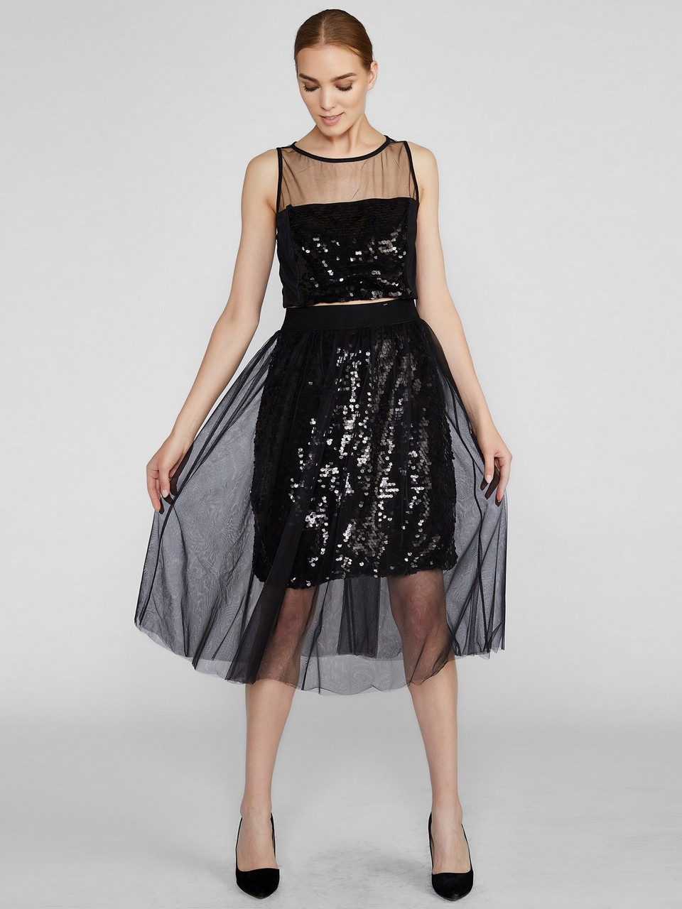 Sequined Detailed Chiffon Skirt