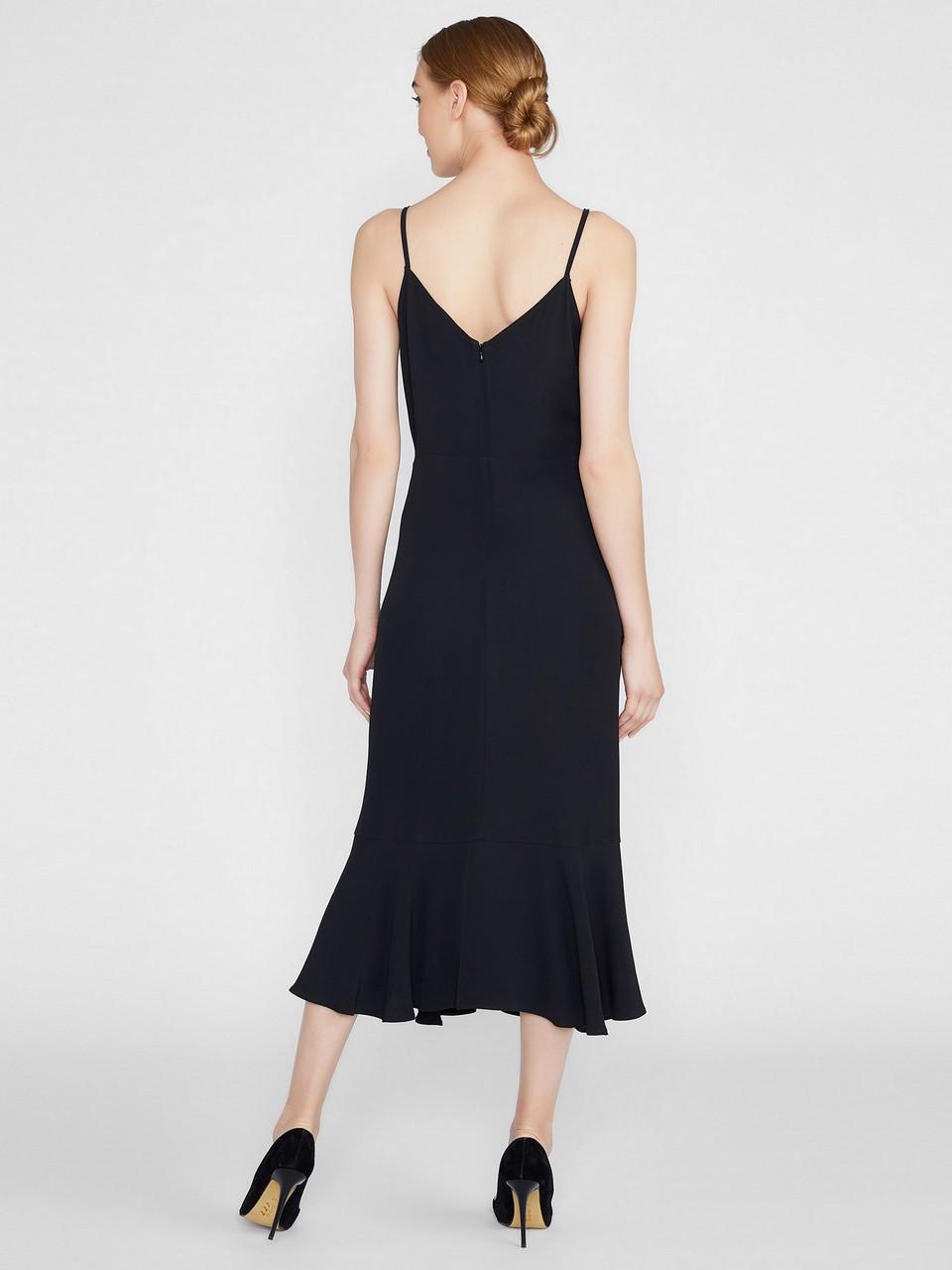 İp Askılı Volanlı Midi Elbise