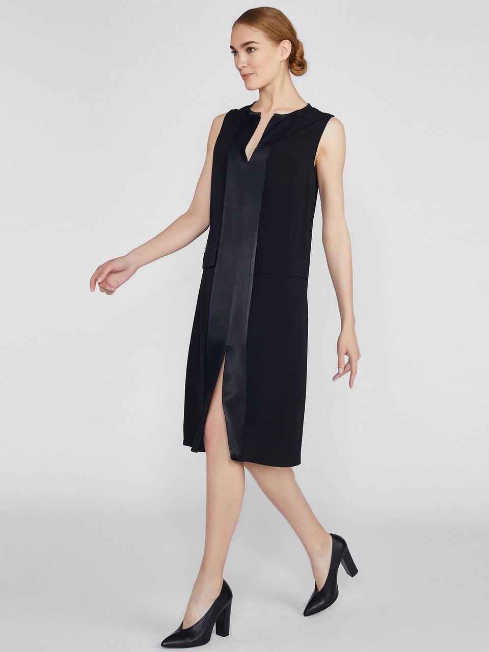 Sıfır Yaka Sıfır Kol Önde Cep Detaylı Elbise