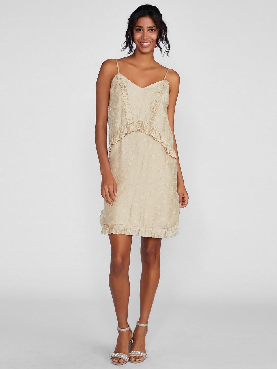 İp Askılı Fırfır Detaylı Mini Elbise