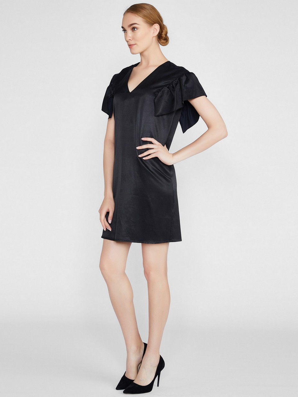 Ruffle Sleeve Cotton / Cupro Dress