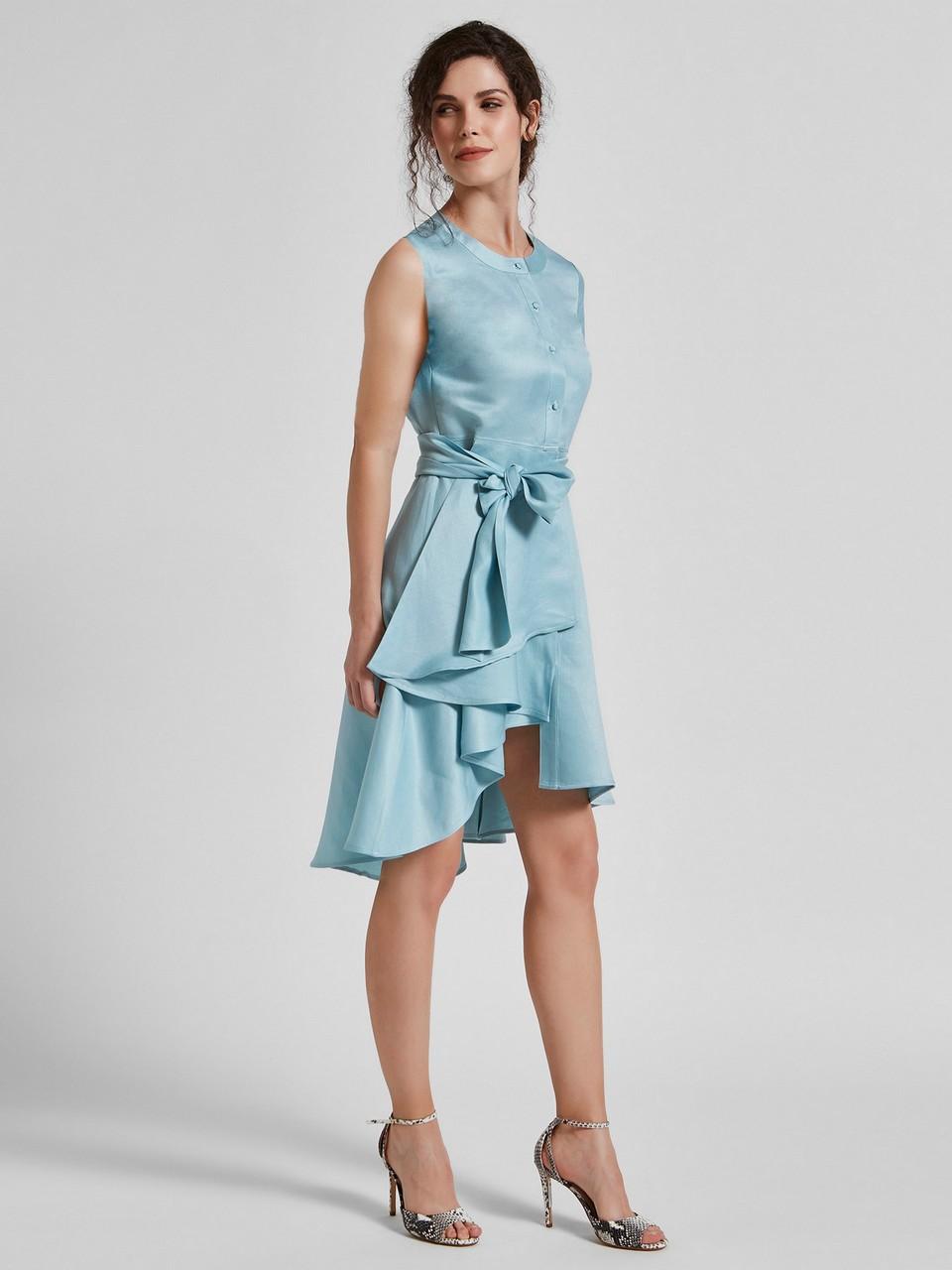 Sıfır Yaka Asimetrik Kesim Belden Bağlamalı Elbise