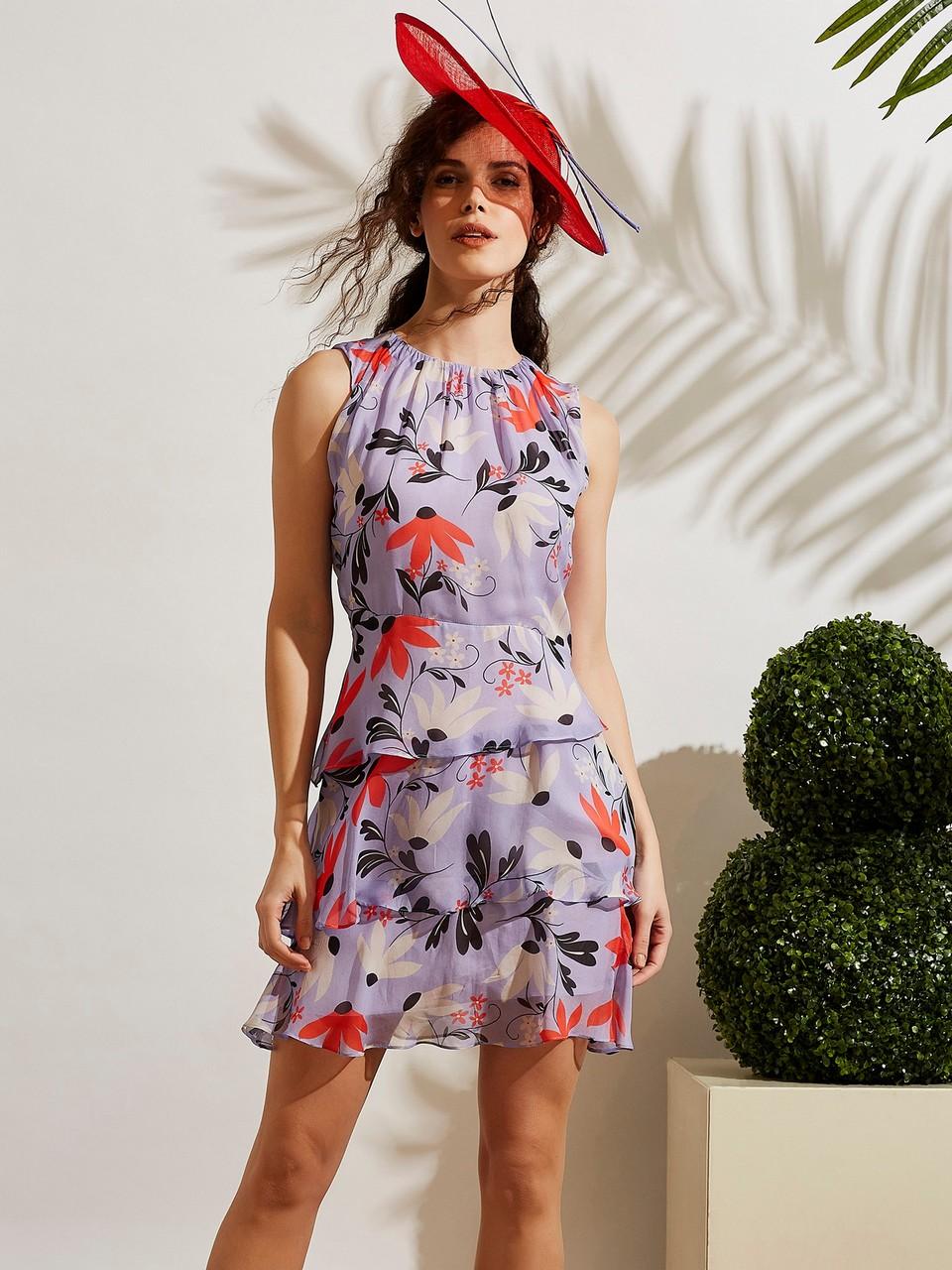 Sıfır Yaka Kolsuz Yaka Büzgü Detaylı Şifon Elbise