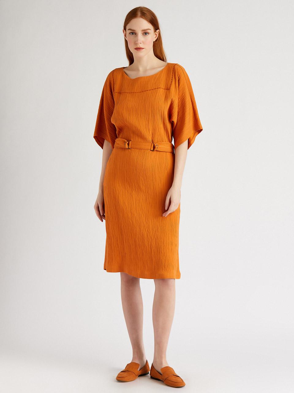 Belt Detail Textured Casual Dress