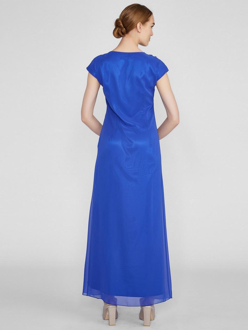 Fırfır Detaylı Maksi Şifon Elbise