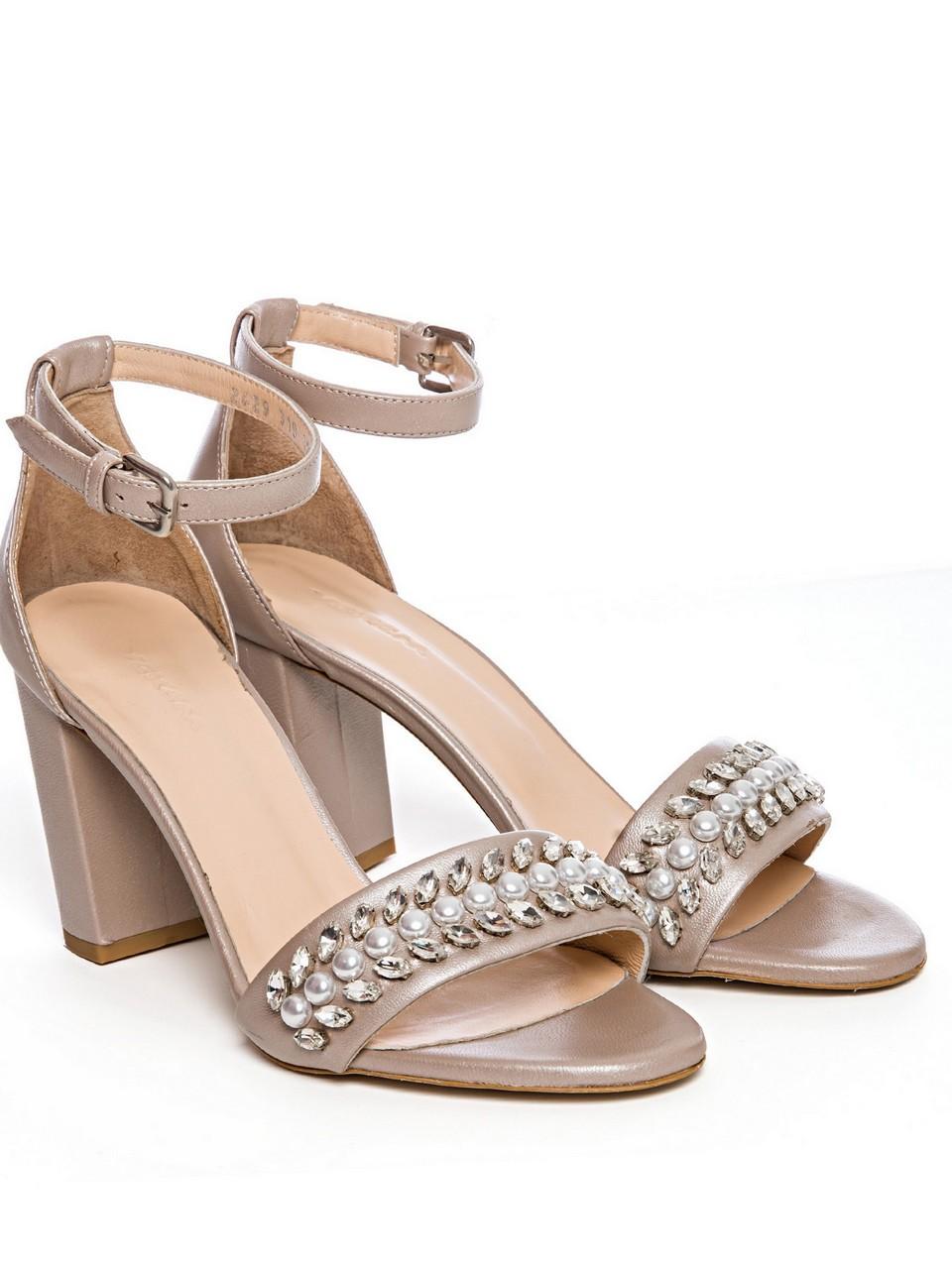 İnci Ve Taş Detaylı Bilekten Bağlamalı Topuklu Ayakkabı