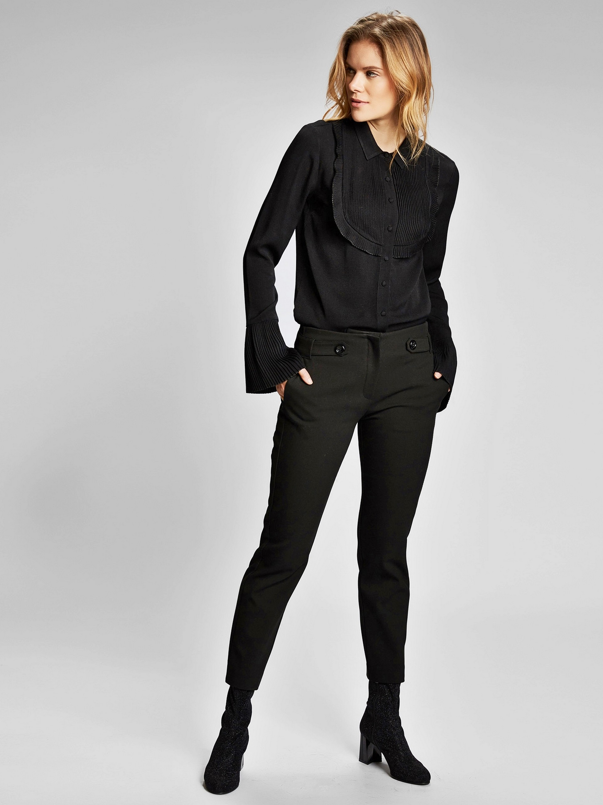 Düğme Detaylı Slim Fit Pantolon