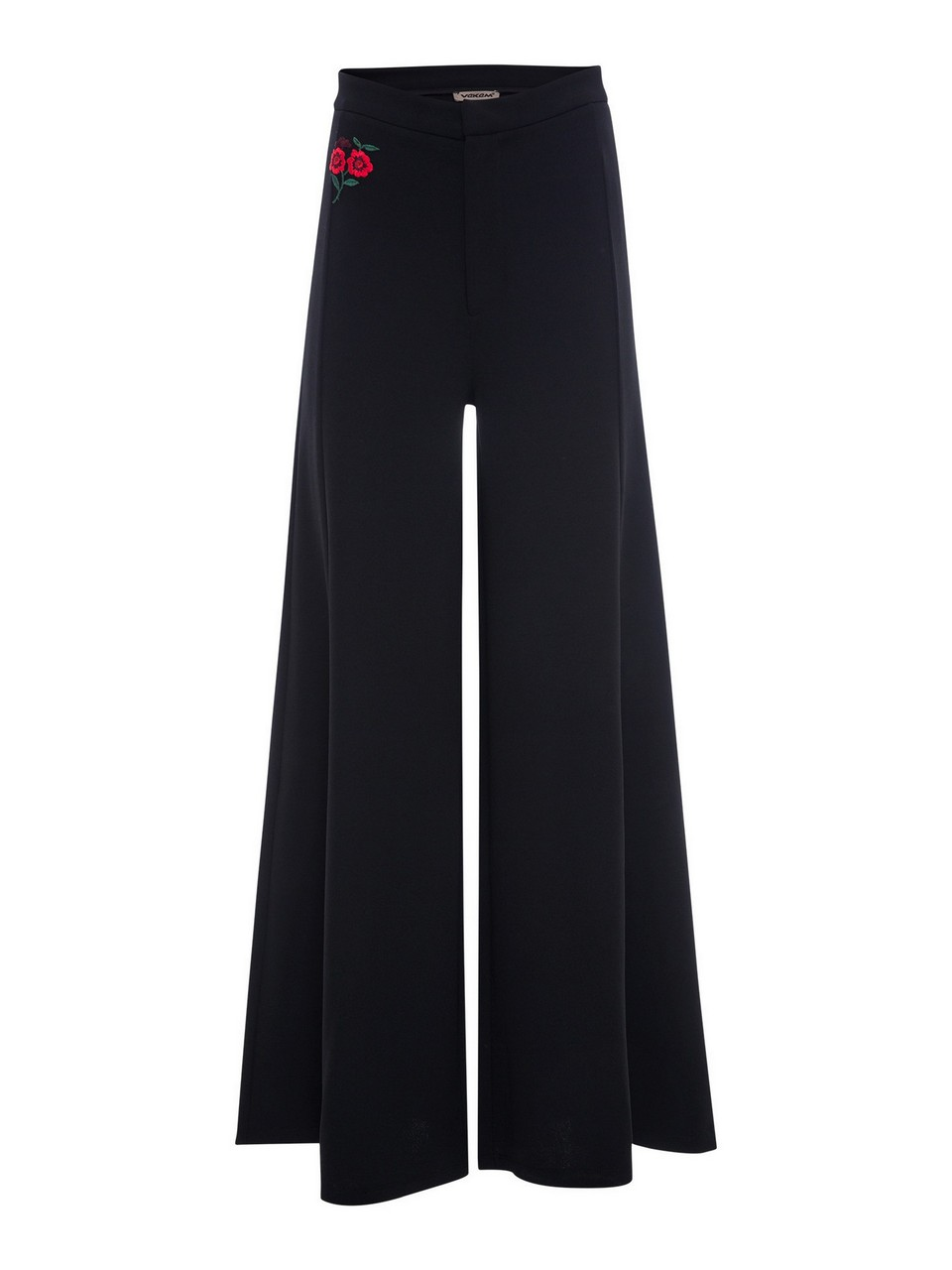 Floral Embroidery Wide Leg Trousers