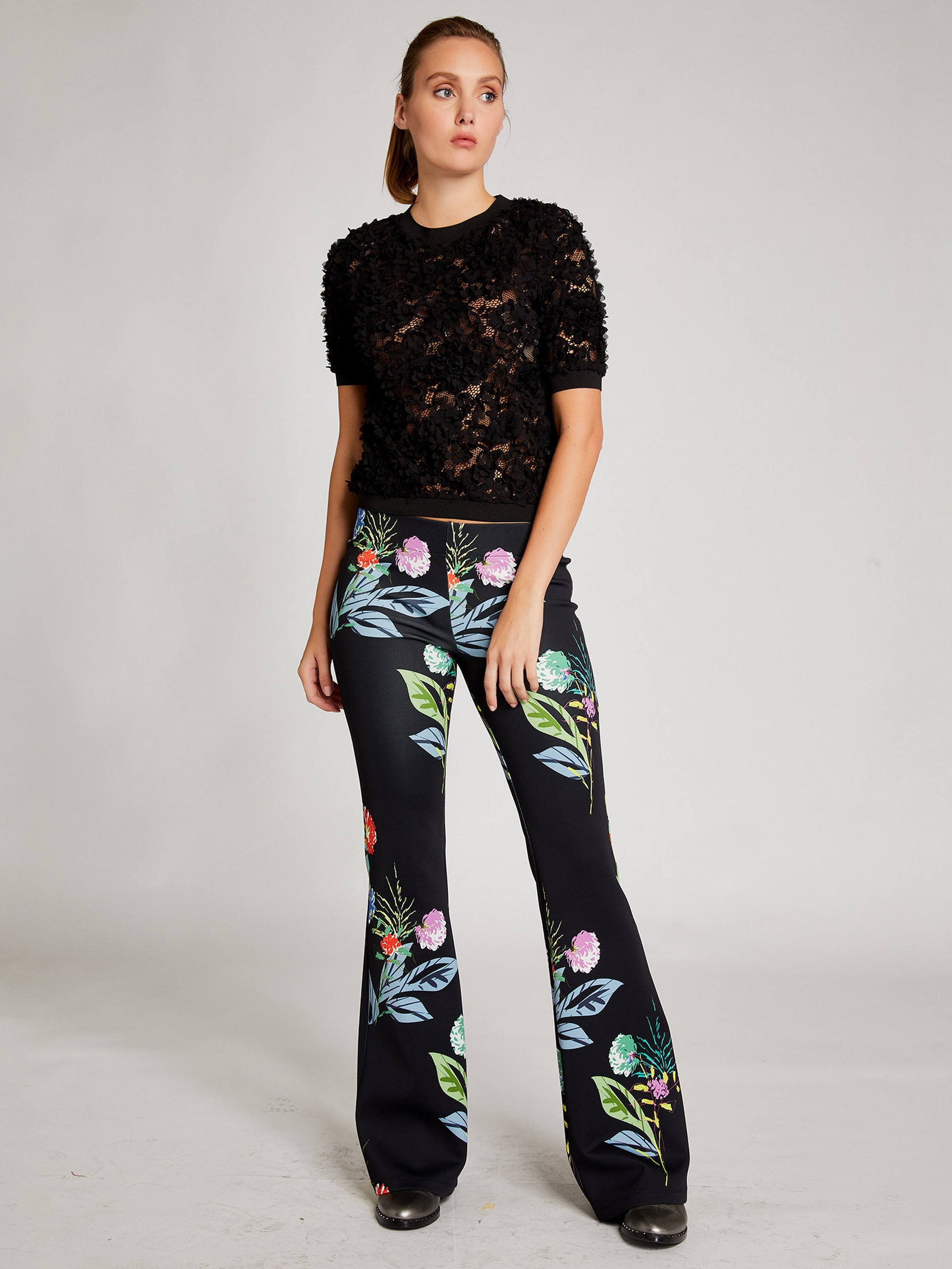 Wide Leg Trousers With Floral Pattern
