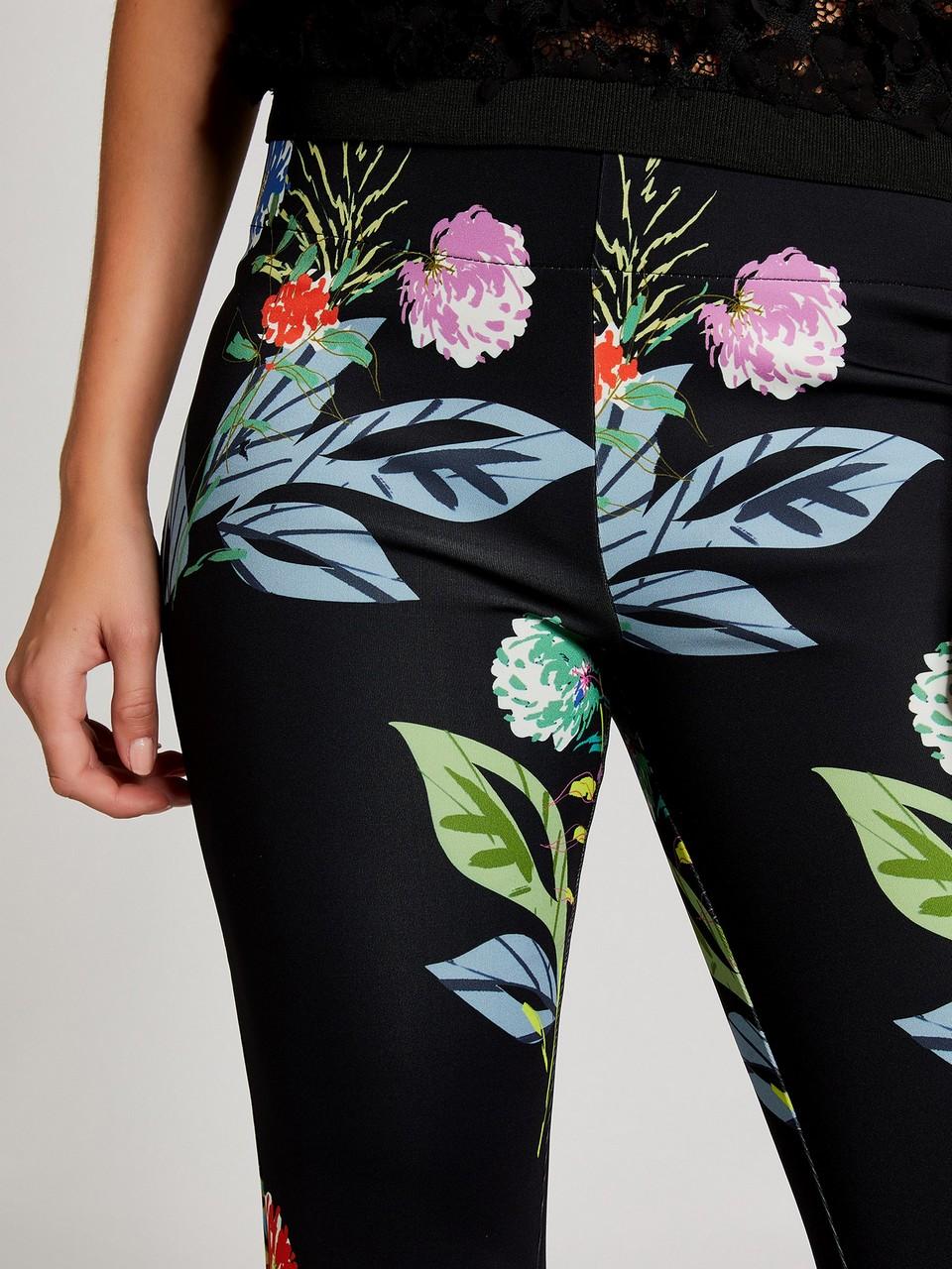 Çiçek Desenli Geniş Paçalı Pantolon