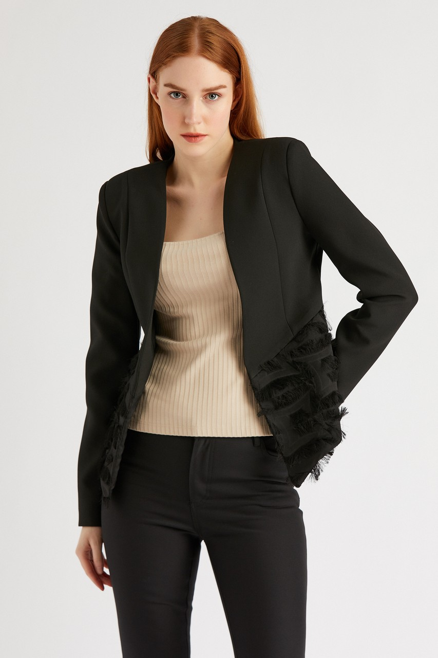 Asymmetric Cut Jacket with Tassel Detail