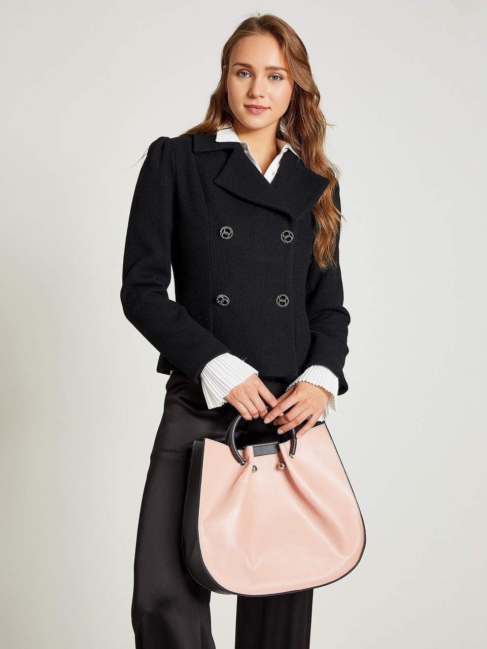 Wide Neck Big Button Detailed Blazer Jacket