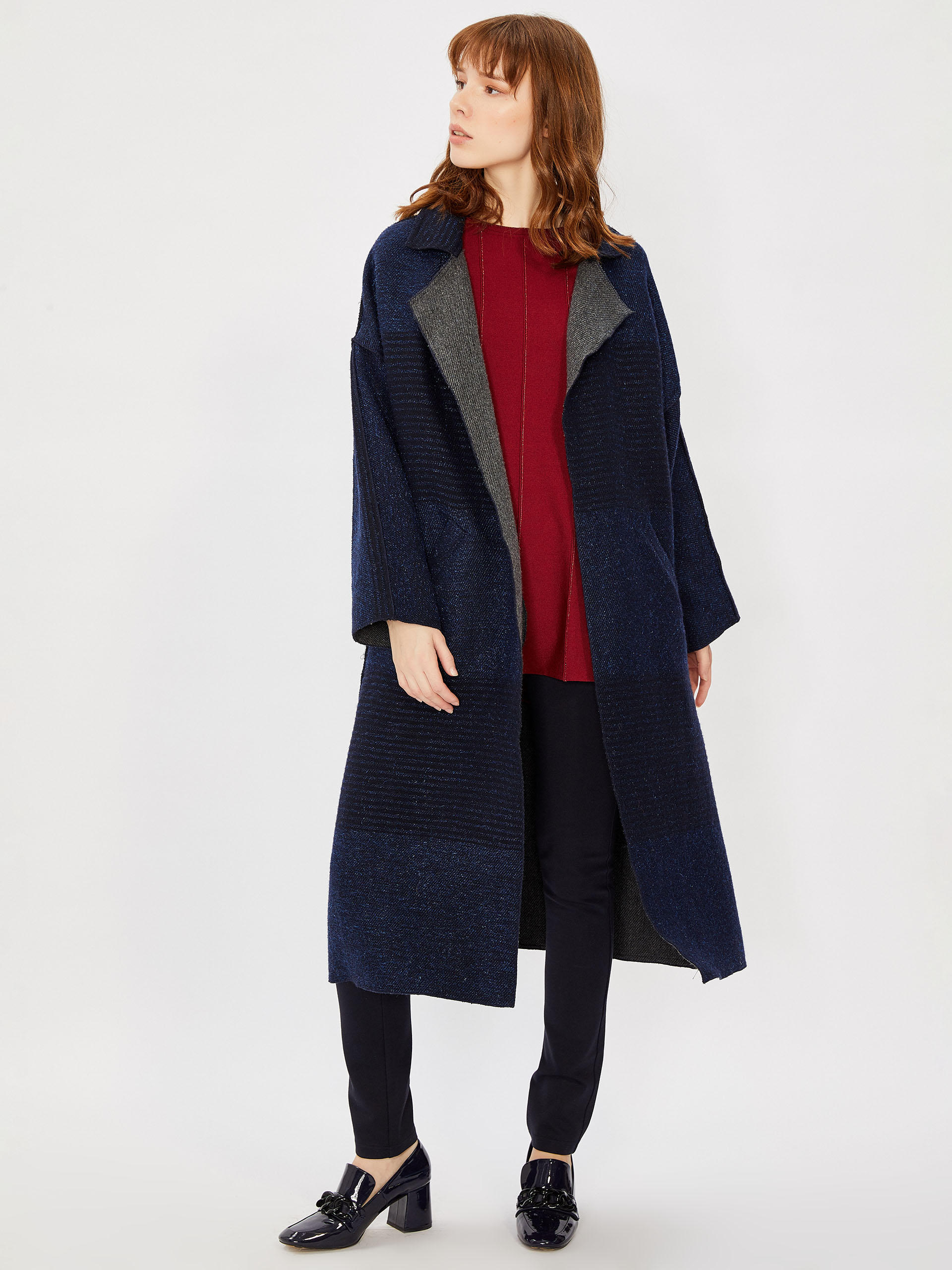 Wooly Coat with Belted Waist