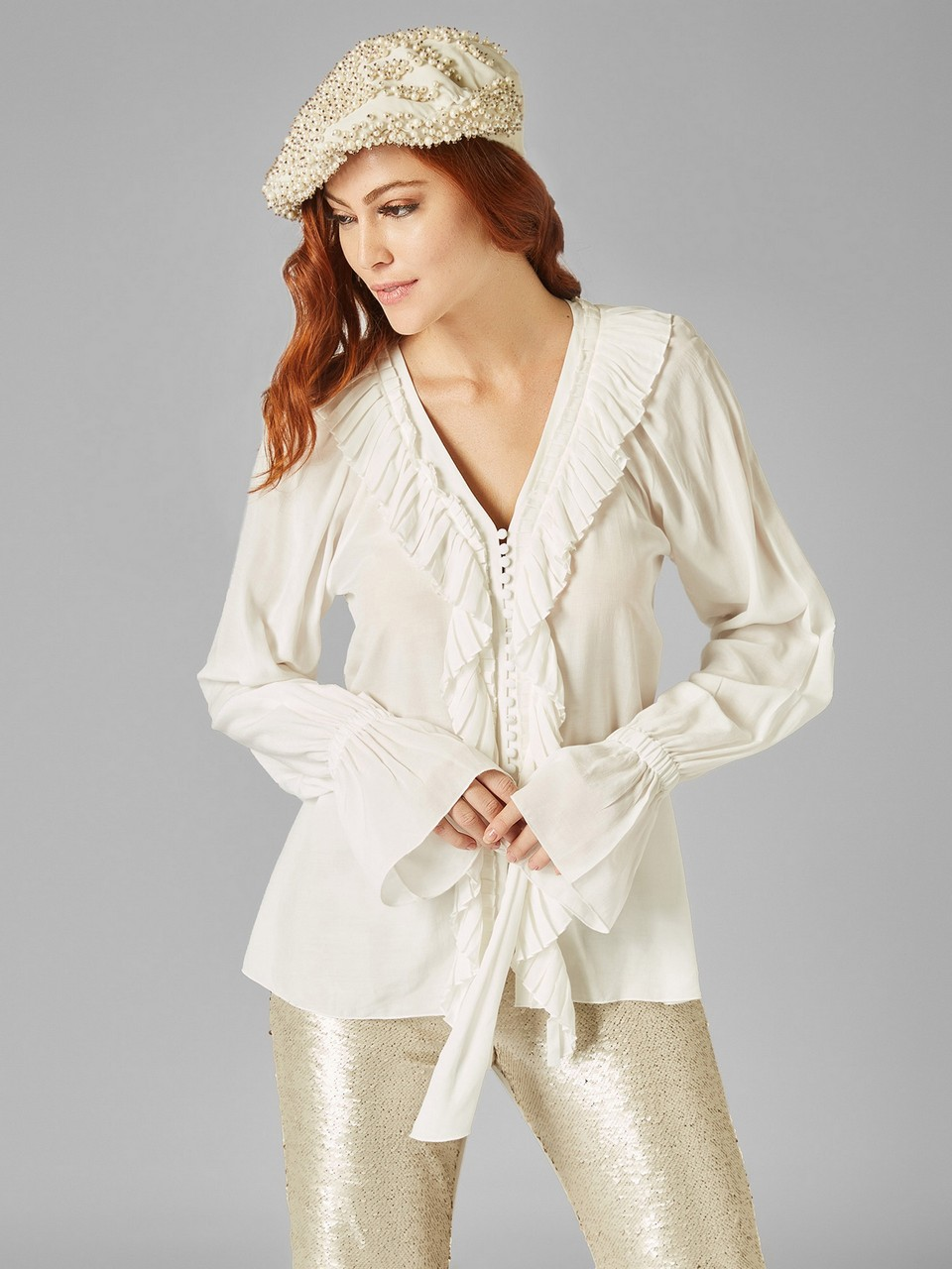 Ruffle Neck Long Sleeve Shirt