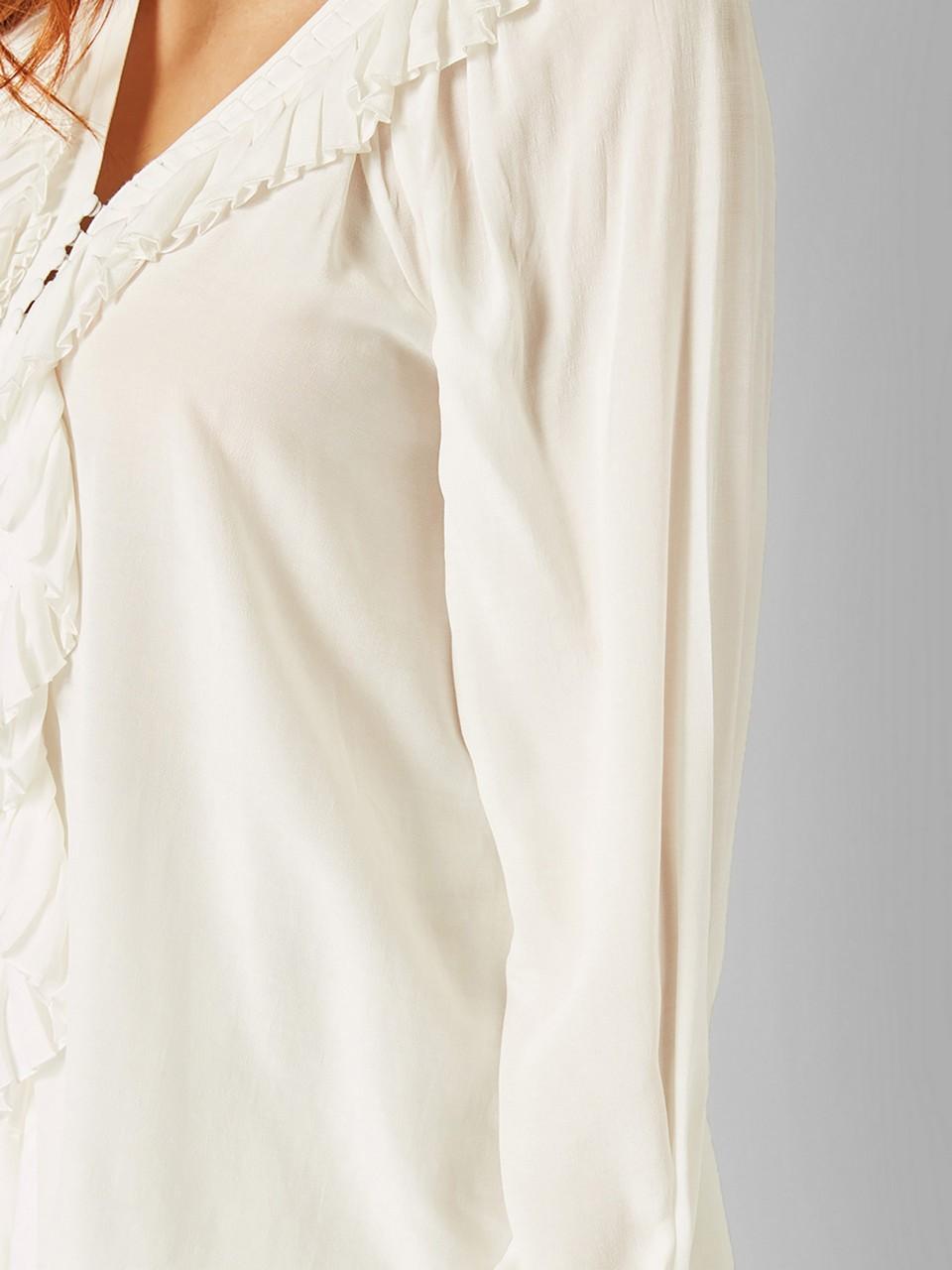 Yakası Volanlı Uzun Kollu Gömlek