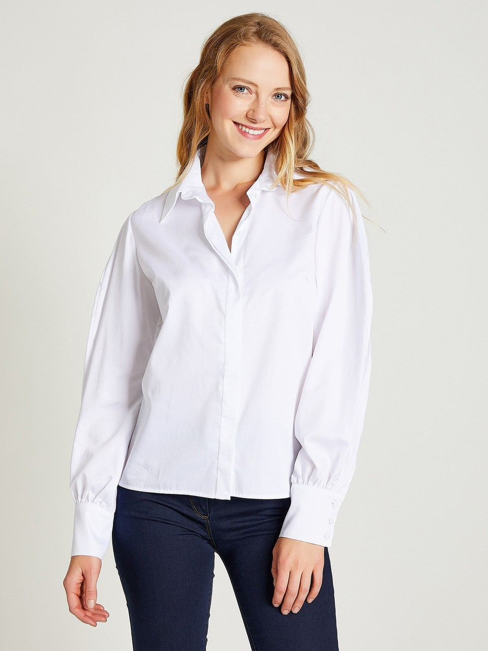 Neckband Wide Cuff Shirt