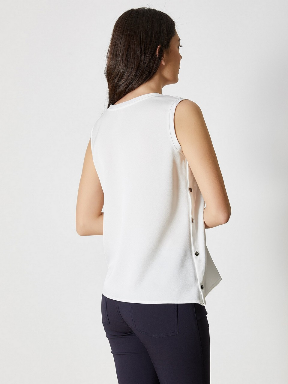 Sıfır Yaka Uzun Kol Desenli Bluz