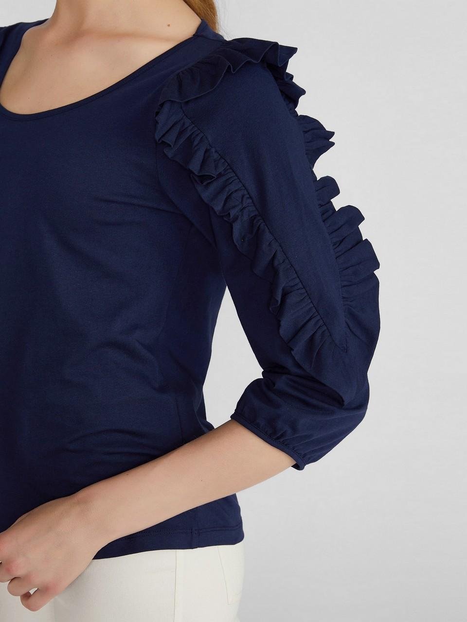 Fırfır Detaylı %100 Pamuk Bluz