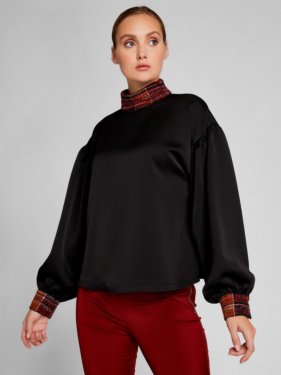 Turtleneck Satin Blouse With Tweed Details