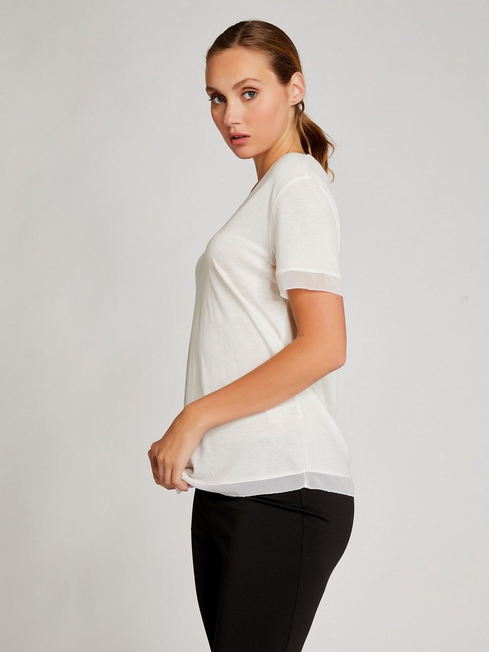 Şifon Detaylı Yünlü Basic Bluz