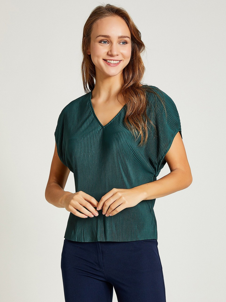 V-Neck Pleated Blouse
