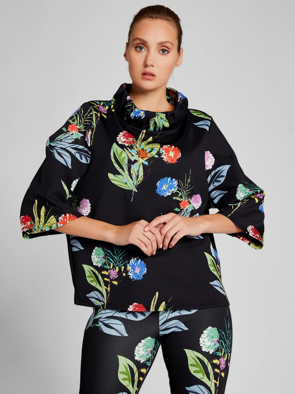 Çiçek Desenli Truvakar Kol Bluz