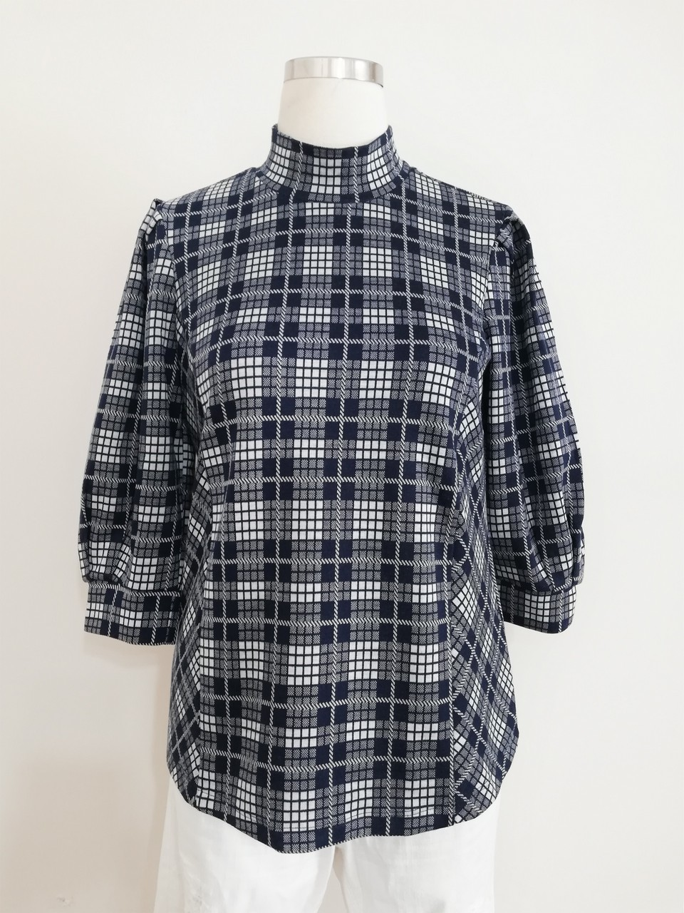 Three Quarter Sleeve Blouse With Ecosse Pattern