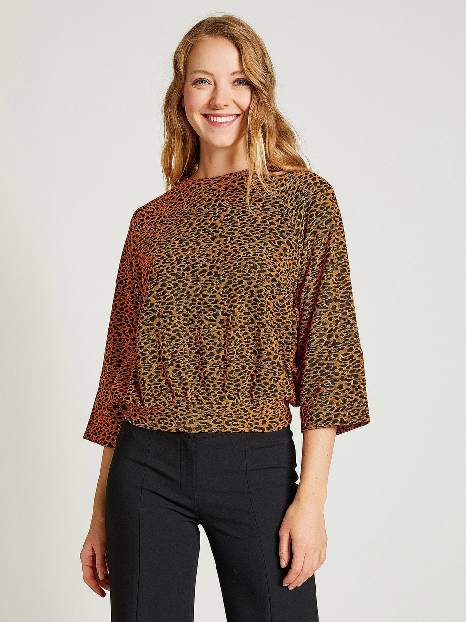 Three Quarter Sleeve Blouse With Animal Print