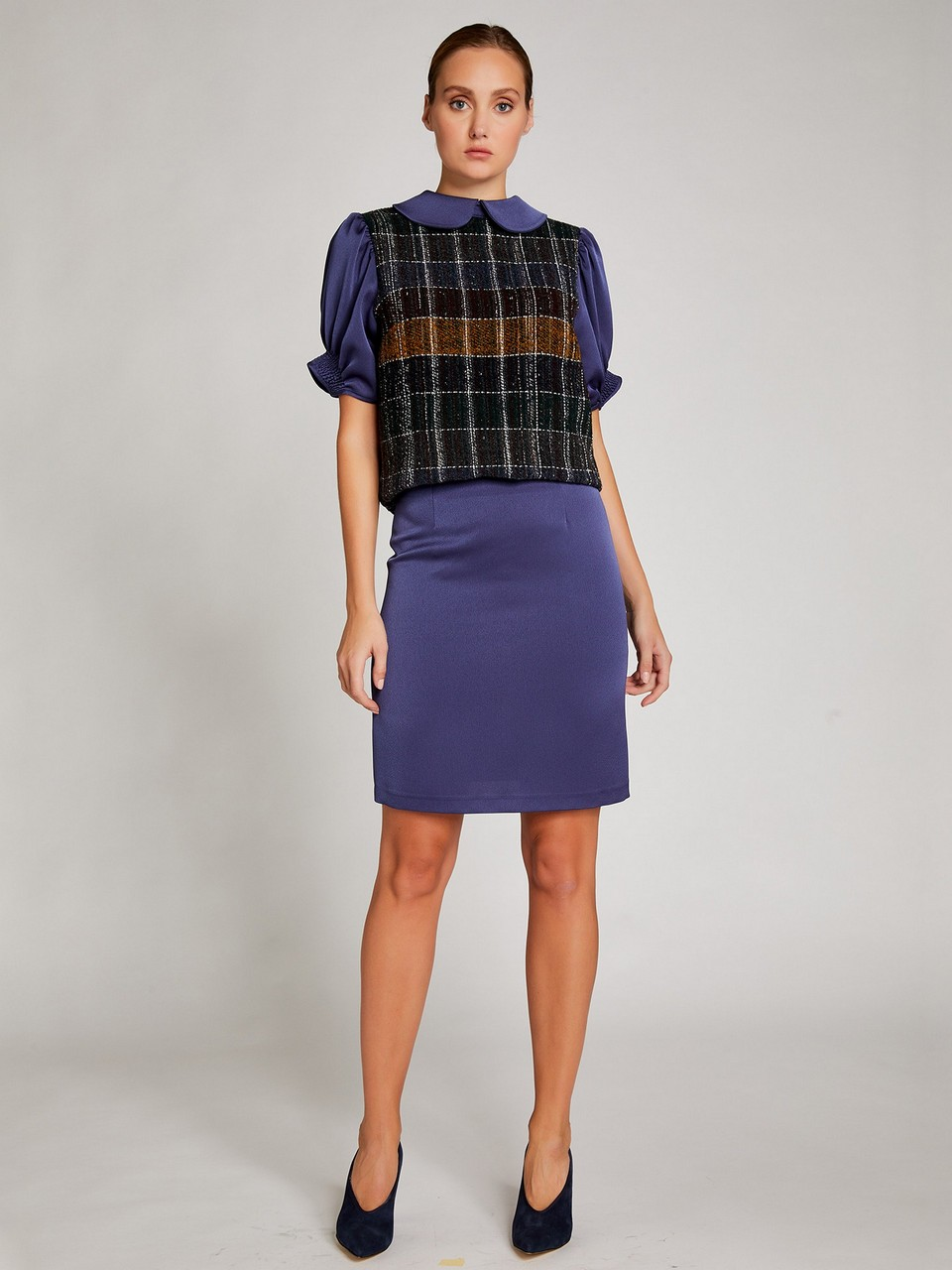 Crape Anver Satin Mini Skirt