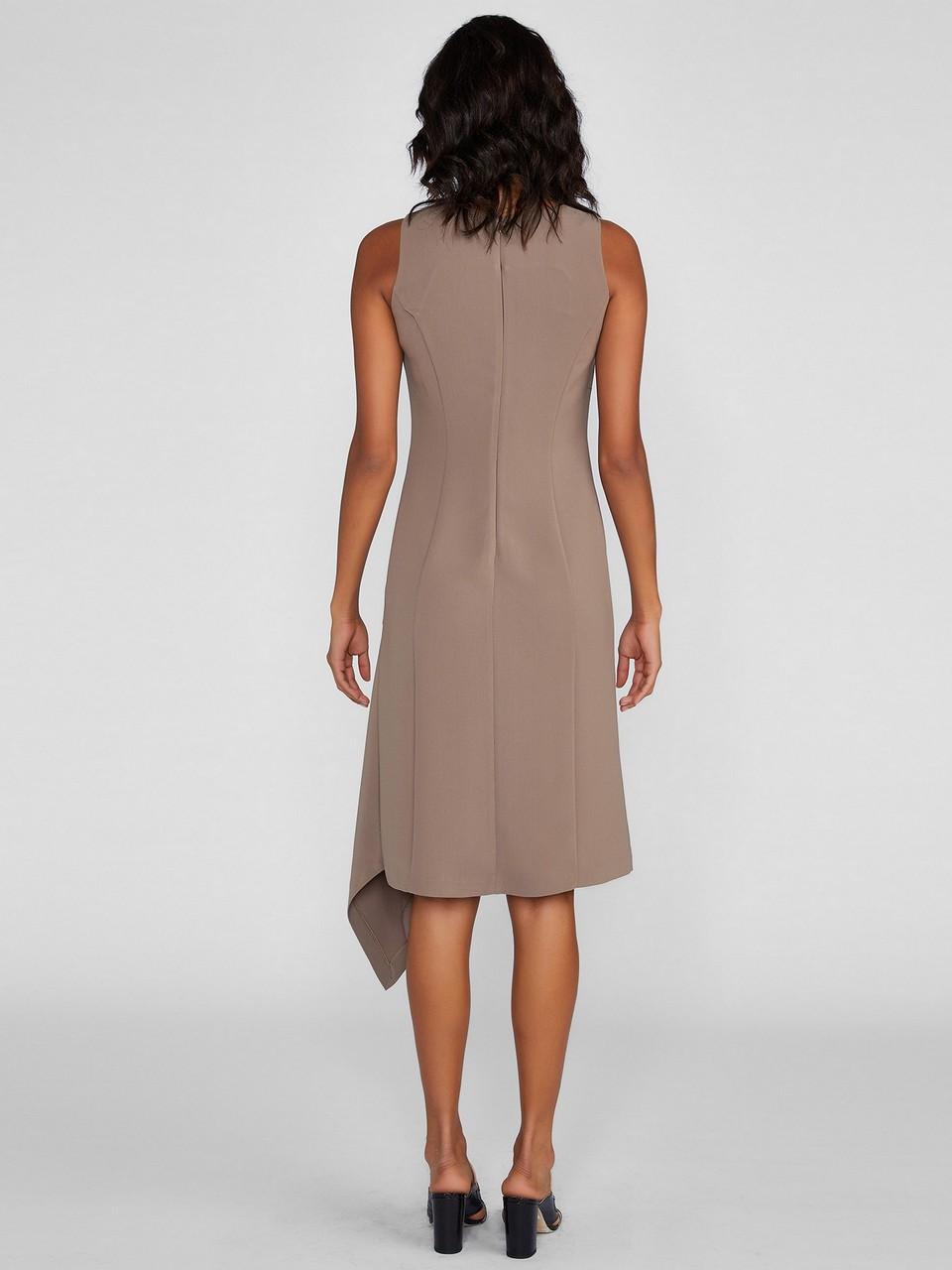 Sıfır Yaka Sıfır Kol Asimetrik Kesim Elbise