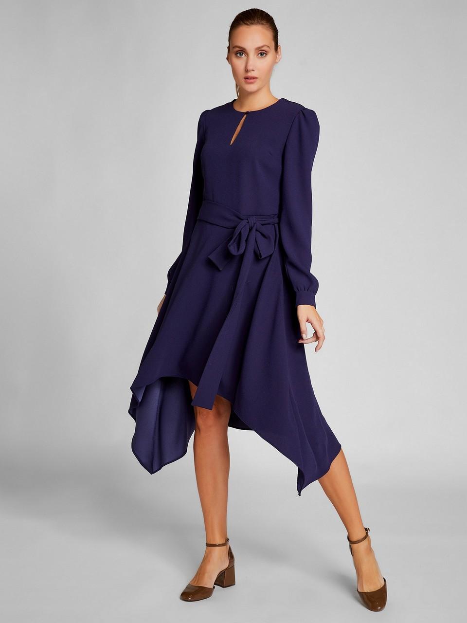 Belden Büzgülü Asimetrik Kesim Elbise