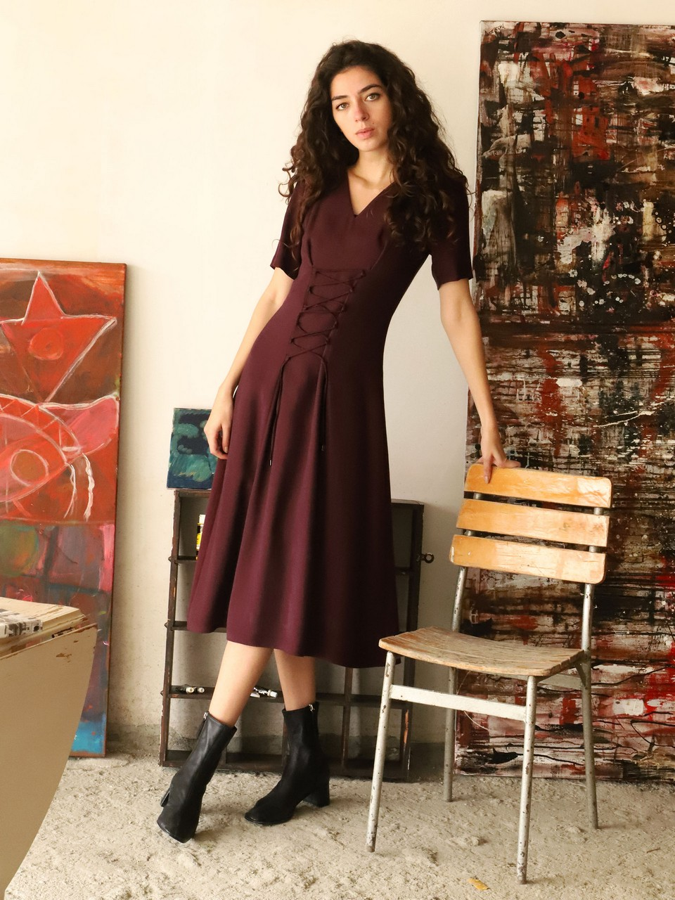 V Neck Front Tie Detailed Midi Dress