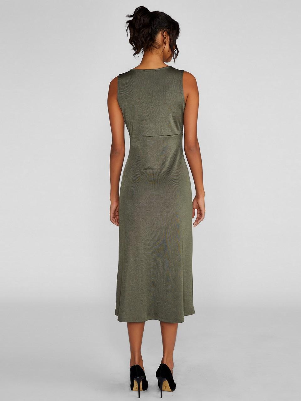 V Yaka Kolsuz Midi Elbise