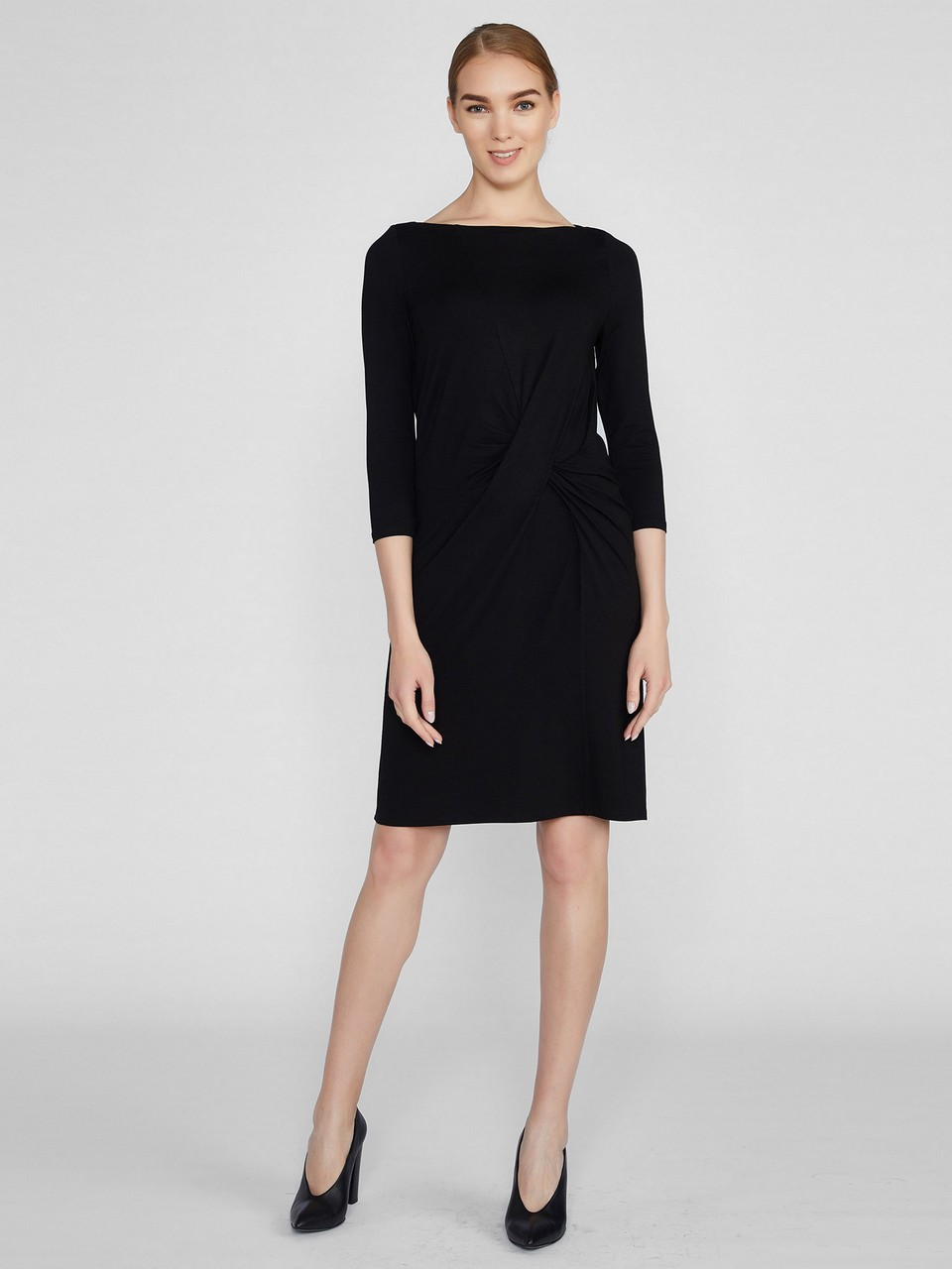 Boat Neck Three Quarter Sleeve Dress