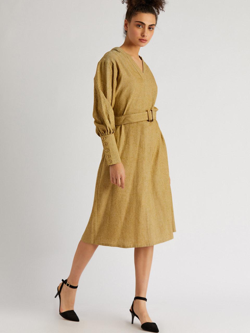V Neck Wide Cuffed Belted Dress