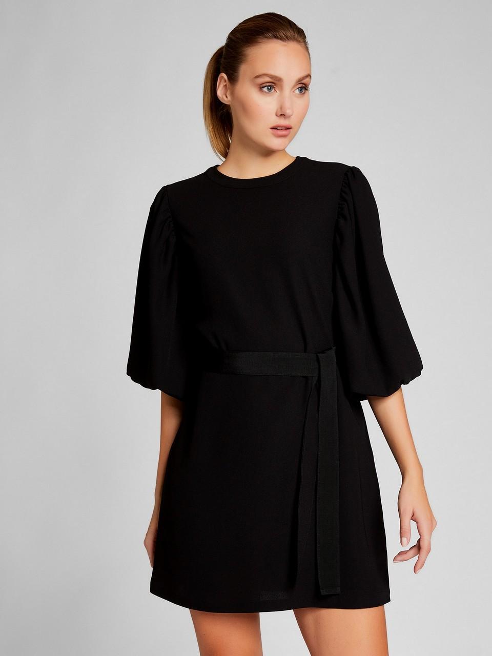 Belden Bağlamalı Truvakar Kol Elbise