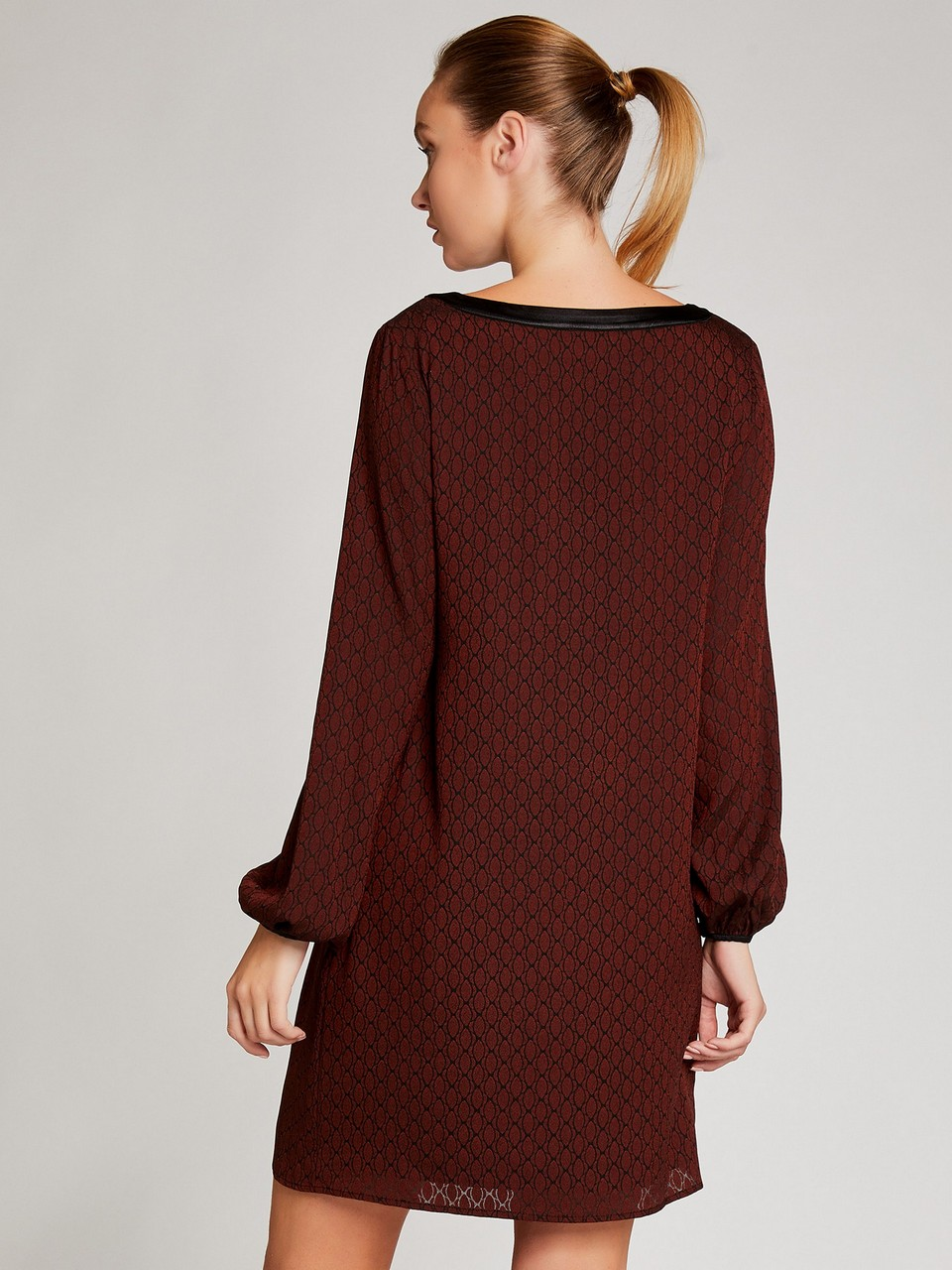 Boat Neck Long Sleeve Dress