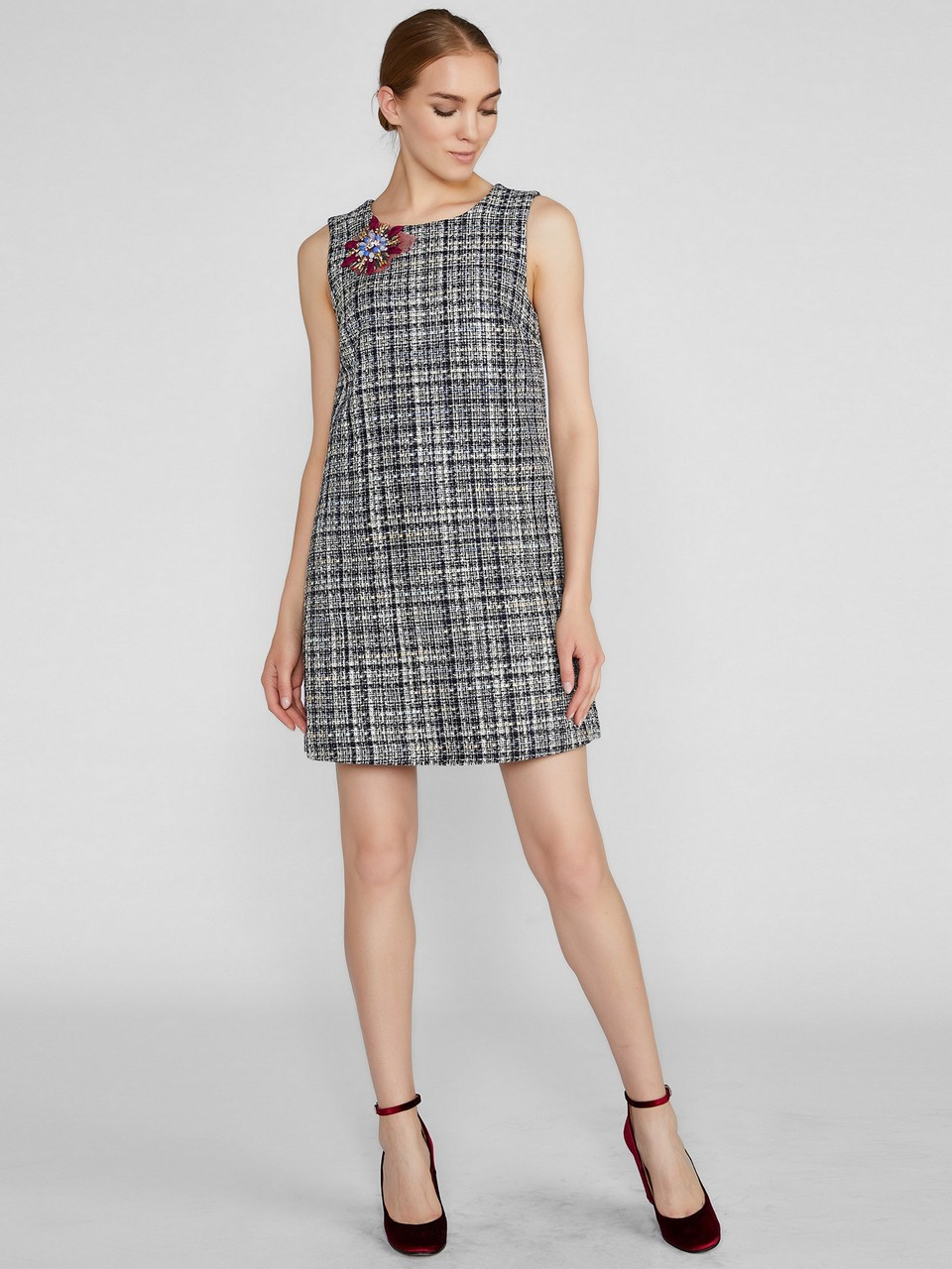 Round Neck Mini Tweed Dress with Brooch