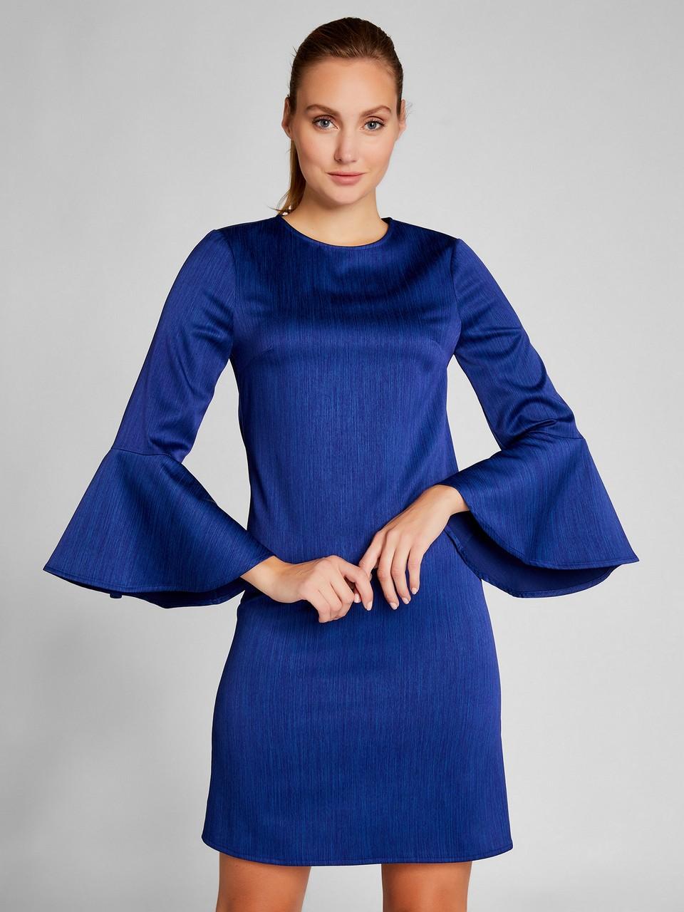 Kolları Volanlı Mini Saten Elbise