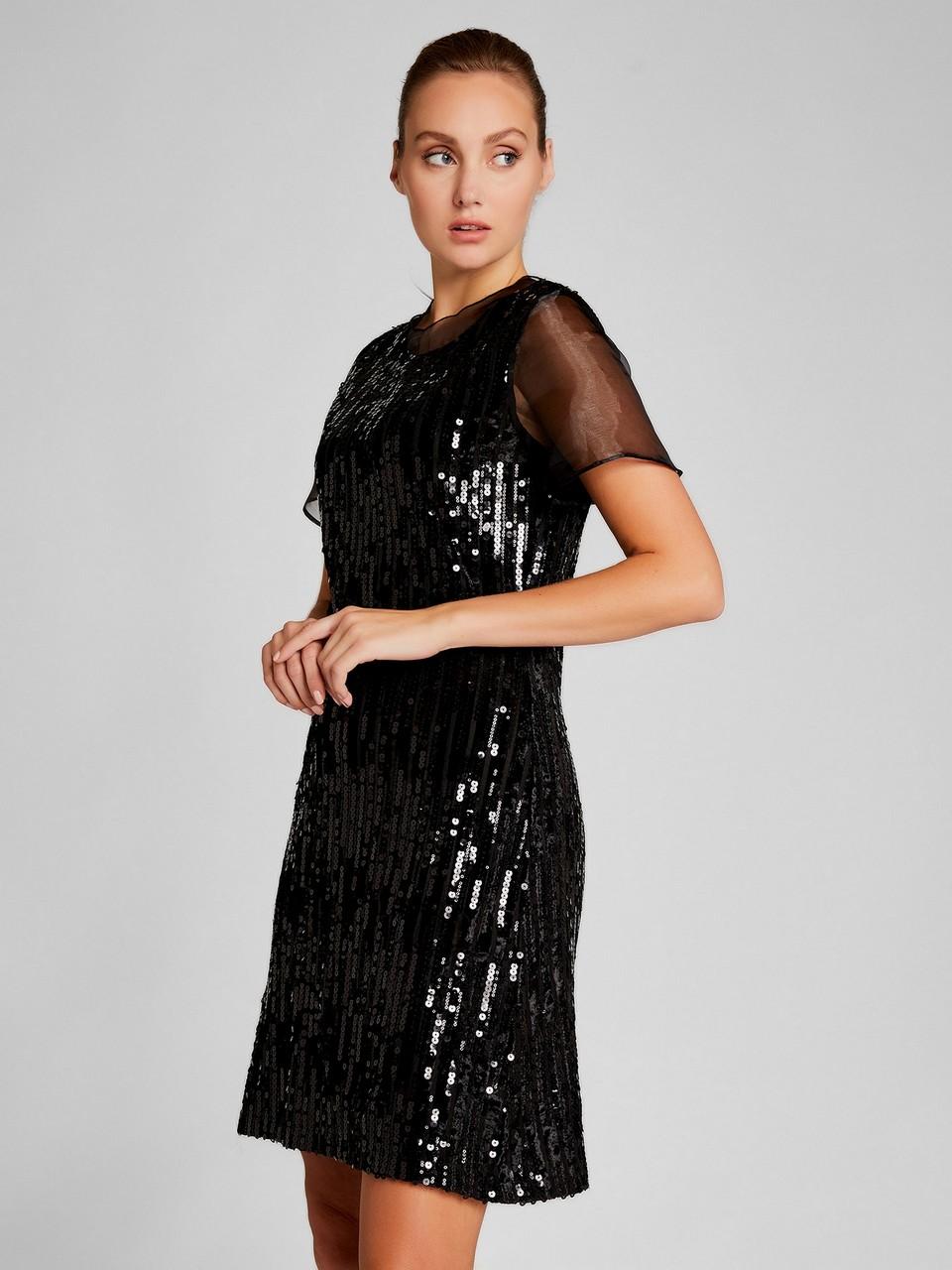 Organze Detaylı Pul Payetli Elbise