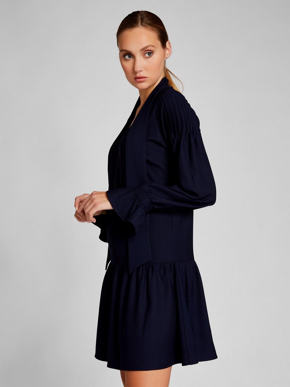 Boyundan Bağlamalı Volanlı Elbise