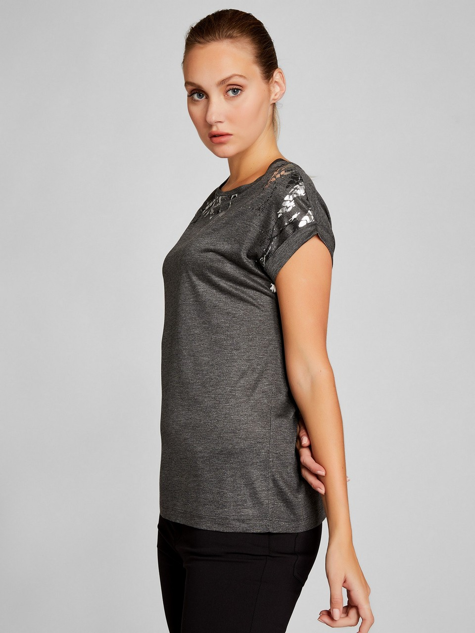 Simli Baskılı %100 Pamuk T-Shirt