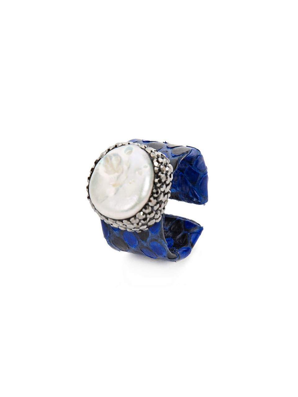 Python Leather Ring with Pearl