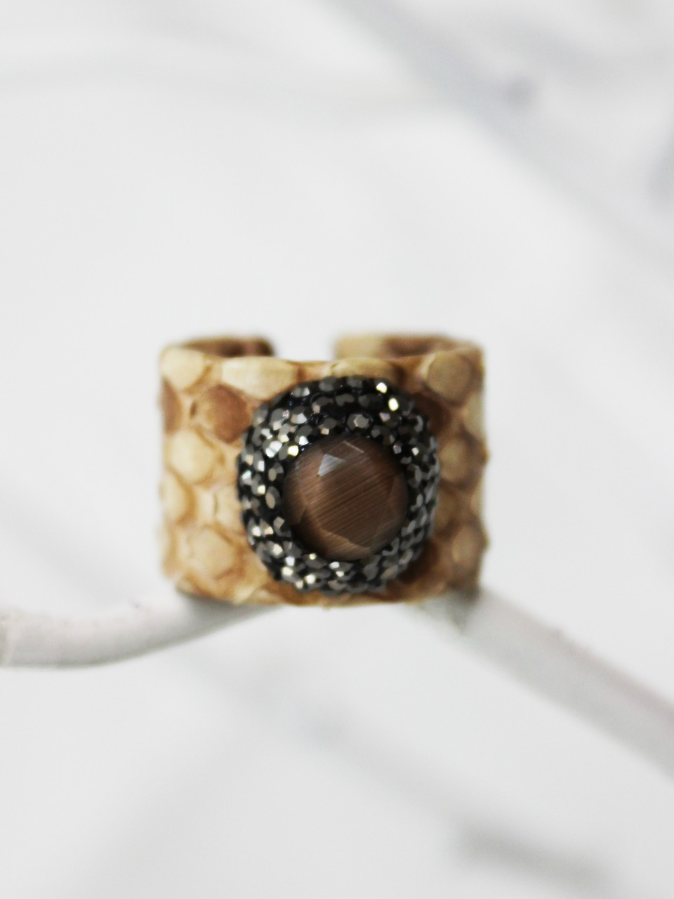 Python Leather Natural Stone Ring