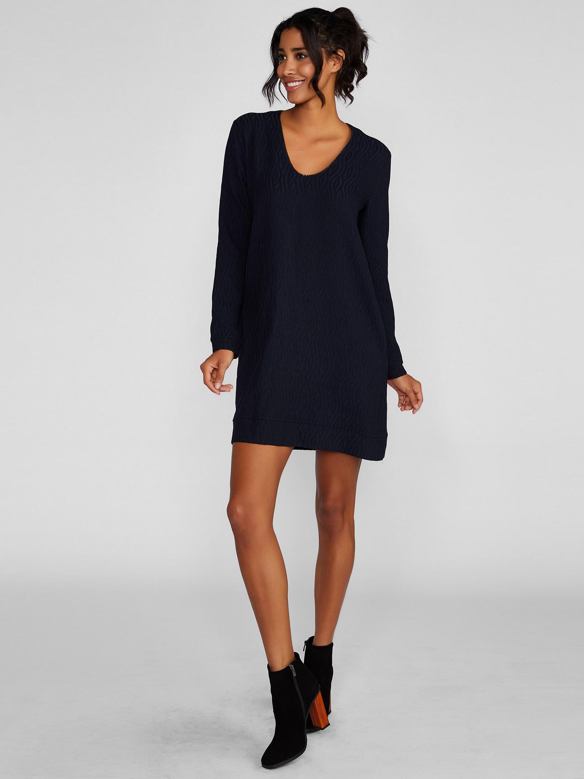 U Yaka Uzun Kollu Mini Elbise