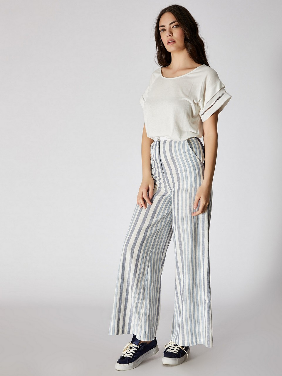 Striped Wide Leg High Waist Trousers