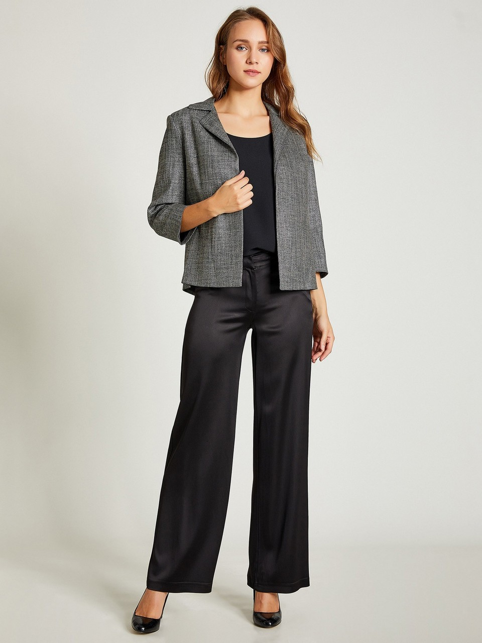 Wide Leg Sateen Trousers