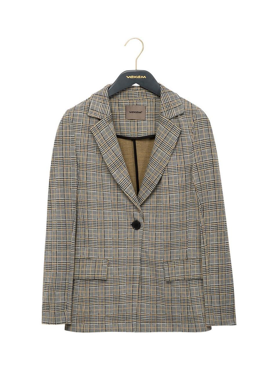 Ekose Desenli Blazer Ceket